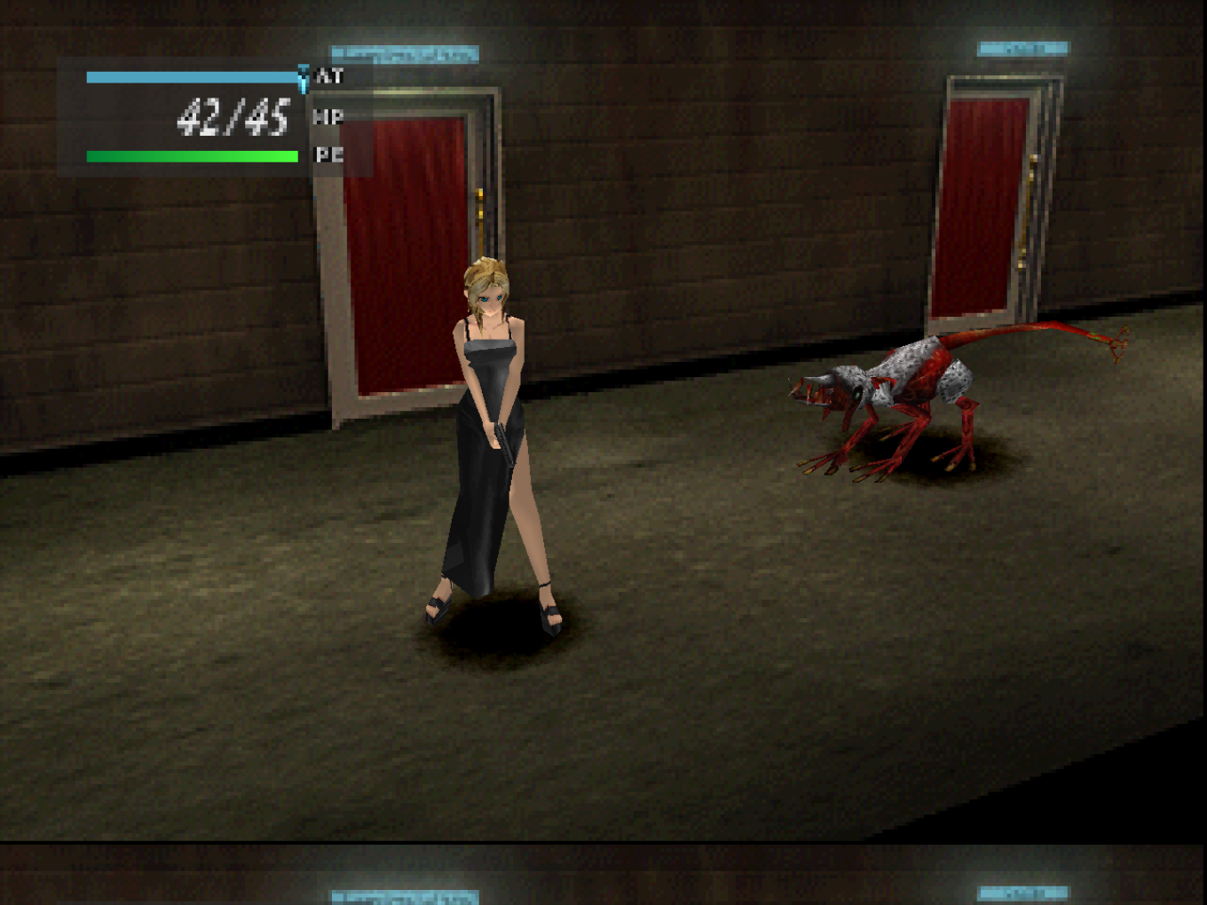 Parasite Eve with the experimental GL renderer. Note the screen residue glitches at the bottom.