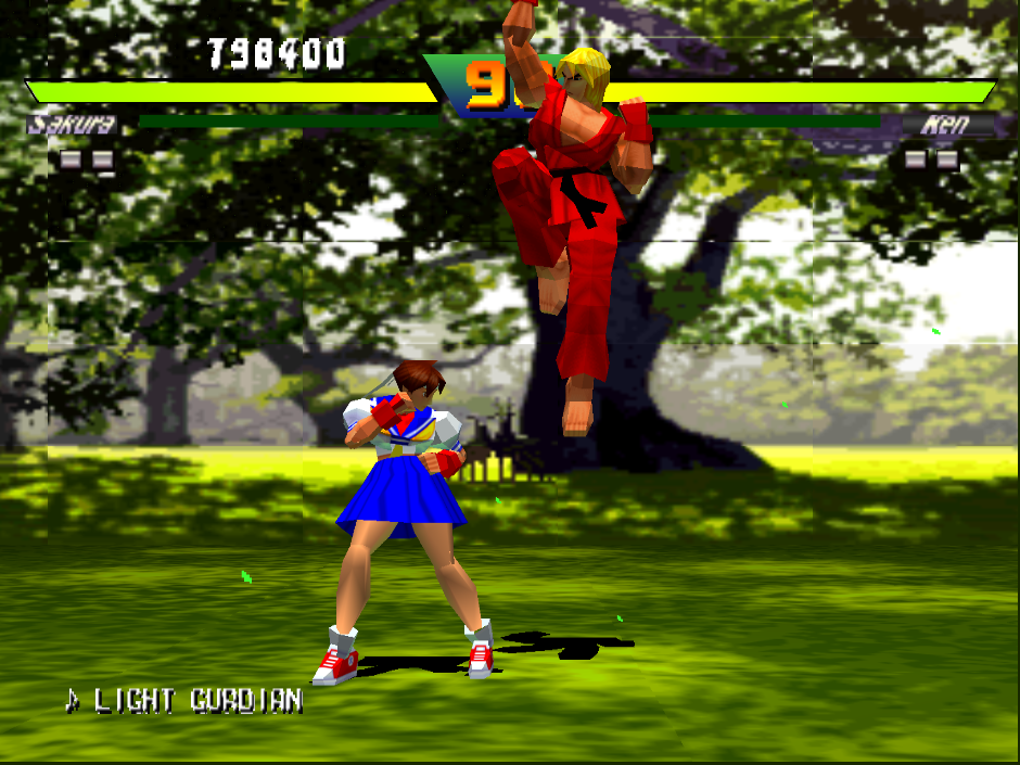 Street Fighter Ex Plus Alpha with the experimental GL renderer and bilinear filtering enabled.