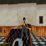 Without PGXP. Notice the black outline around one of the texture maps and the warped/distorted textures.