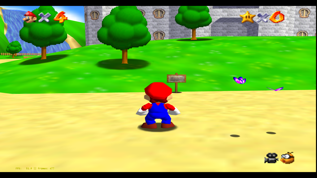 Super Mario 64 running at 8K resolution with Gliden64.