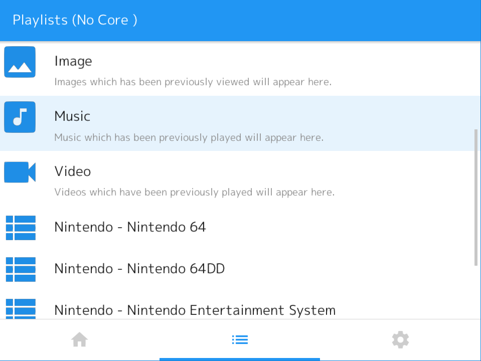 Music, Video and Images which have previously been loaded in RetroArch can be easily accessed from the Playlists tab now.