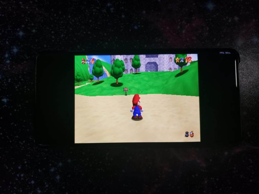 50fps with Super Mario 64 on a Galaxy S10+ - RetroArch Mupen64Plus - Angrylion - Parallel RSP