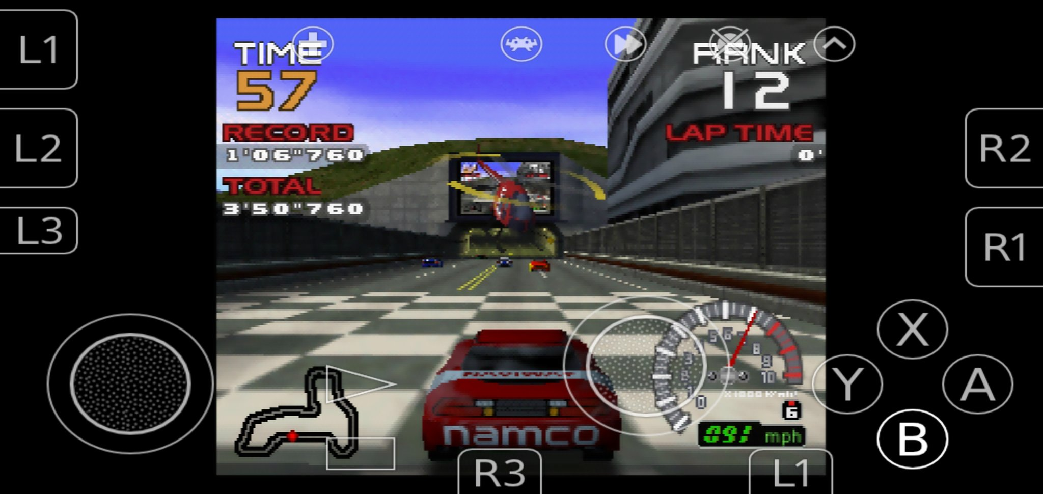 Ridge Racer 64 running on Parallel RDP on an Android phone (with RetroArch)